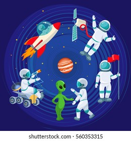Flying rocket, spaceman with satellite, cosmonaut with red flag, alien speaking with astronaut, scientist with telescope isolated around red planet on background of cosmic sky vector illustration