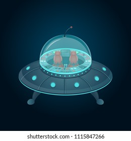 Flying saucer with a cockpit in cartoon style. Vector illustration.