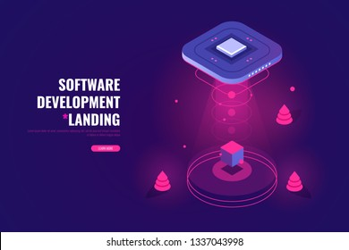 Flying saucer raises cube, ufo, futuristic digital technology concept, software app development, installation or removal, vector