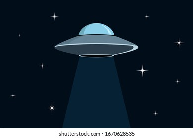 Flying saucer in space. Vector illustration.