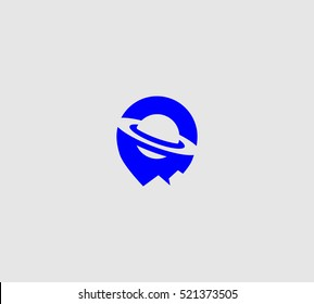 Flying saucer vector logo in a modern flat style