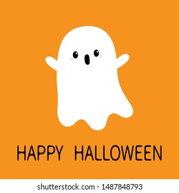 Flying screaming ghost spirit. Boo. Happy Halloween. Scary white baby ghosts. Cute cartoon spooky character. Funny face, hands up. Greeting card. Flat design. Orange background. Vector illustration