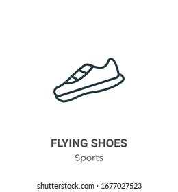 Flying shoes outline vector icon. Thin line black flying shoes icon, flat vector simple element illustration from editable sports concept isolated stroke on white background