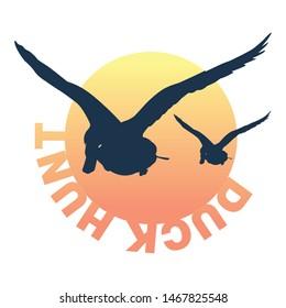 Flying silhouette ducks at sunset logo/icon design.