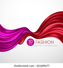 flying silk fabric. Fashion background. Vector illustration