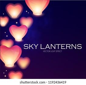 Flying Sky Lanterns. Chinese Light Effect Decoration. Vector illustration