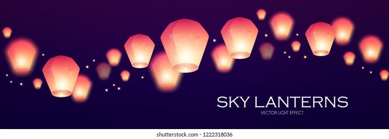 Flying Sky Lanterns. Chinese Light Effect Decoration. Vector illustration