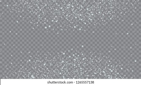 Flying snow background. Bbright, White, Shimmer, Glowing, Scatter, Falling background. Holiday decoration Christmas banner. Transparent base.