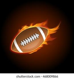 Flying soccer Ball in Fire. Illustration on dark background