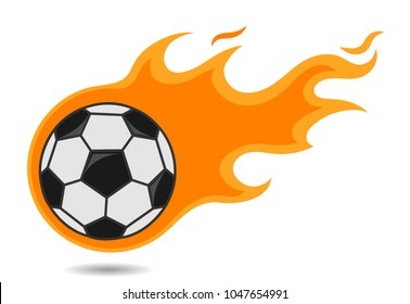 Flying Soccer Ball in Fire Trail on White Background, Isolated Football with Flames, Hand Drawn Cartoon Vector Illustration EPS 10