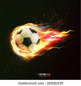 flying soccer ball on fire isolated black background, vector illustration