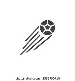 Flying soccer ball vector icon. filled flat sign for mobile concept and web design. Flying football ball glyph icon. Symbol, logo illustration. Vector graphics