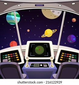Flying spaceship cabin futuristic interior cartoon with space backdrop vector illustration