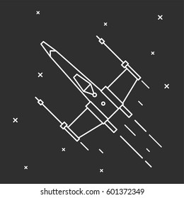 Flying a spaceship in outer space. Vector illustrations