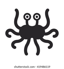 Flying spaghetti monster, atheism symbol. Black and white minimalistic vector logo.