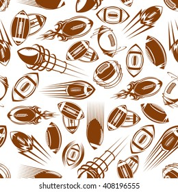 Flying and spinning rugby balls brown seamless pattern on white background with motion trails in retro comics and ornamental tribal style. Sport, competition backdrop or wallpaper design
