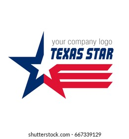 Flying star in the colors of the Texas state flag. Logo template. Vector illustration.