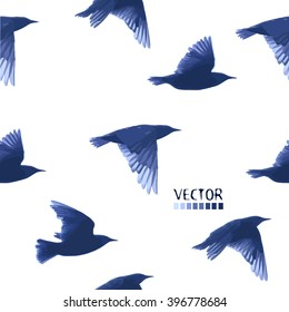 flying starling. Seamless background.  Vector