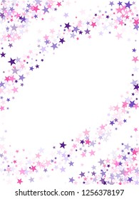 Flying stars confetti holiday vector in pink violet purple on white. Twinkle starburst astral wallpaper. Cool flying stars scatter background. New year festive sparkles design.