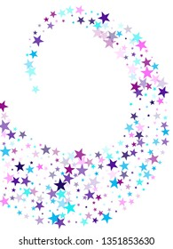 Flying stars confetti holiday vector in cyan blue violet on white. Twinkle starburst astral wallpaper. Cute cartoon stars holiday vector. Surprise party decoration.