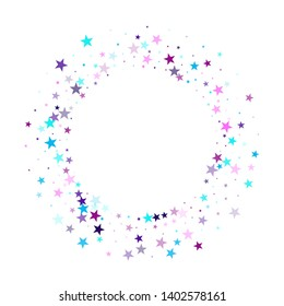 Flying stars confetti holiday vector in cyan blue violet on white. New year festive sparkles design. Party stars pattern graphic design. Twinkle starburst astral wallpaper.