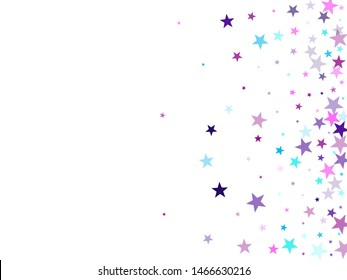 Flying stars confetti holiday vector in cyan blue violet on white. Fireworks elements confetti. Cool flying stars scatter background. Fireworks sparkles festival symbols.