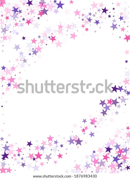 Flying stars confetti holiday vector in pink violet purple on white. Chaotic holiday decor backdrop. Cute cartoon stars holiday vector. Falling sky sparkle elements.