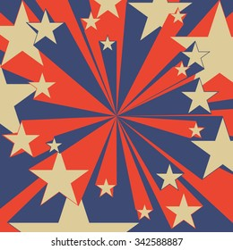 Flying stars. Pop-art comic background