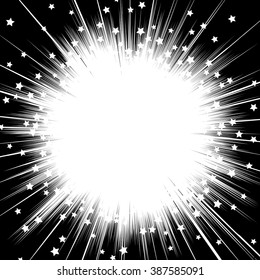 Flying stars Sun ray or star burst element Comic black and white radial lines background Zoom effect Square fight stamp Manga speed graphic texture Superhero frame Explosion vector illustration