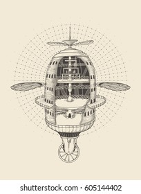 Flying steampunk machine.