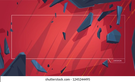 Flying stones. Vector dynamic composition