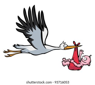 Flying stork with a baby in a red cloth on white background.