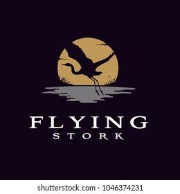 Flying Stork / Bird Sunset logo design inspiration