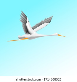 Flying stork on a background of blue sky