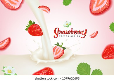 Flying strawberries plant consists of leaves, stems and flowers with milk splash on pink background template. Vector set of fruit element for advertising, packaging design of strawberry products.