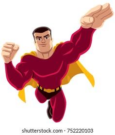 Flying superhero over white background.