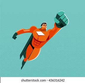 Flying superhero. Vector illustration