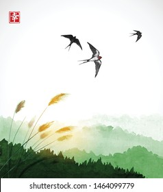 Flying swallow birds, green grass and forest mountains. Traditional Japanese ink wash painting sumi-e. Hieroglyph - happiness.