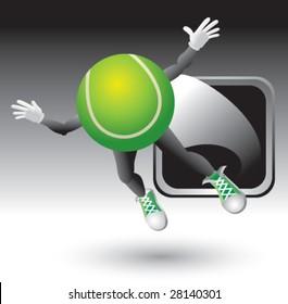 flying tennis ball man icon