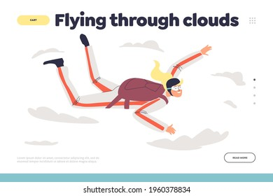 Flying through clouds concept of landing page with woman skydiving with parachute. Skydivers female free falling. Cartoon character girl paragliding. Extreme sport hobby. Flat vector illustration