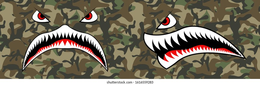 Flying Tiger Shark for T-shirt design. Trendy element for silkscreen clothing. Mouth Tiger Shark for merch and clothing. Trendy mouth and seamless camouflage pattern. Vector illustration for hood.