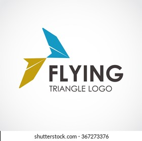 Flying of triangle wing abstract vector and logo design or template aviation sky business icon of company identity symbol concept