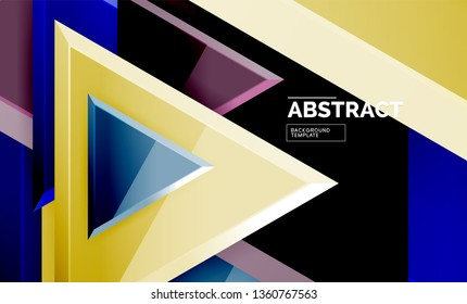 Flying triangles compostion geometric background. Vector illustration