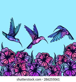 Flying tropical stylized hummingbirds with flowers background.