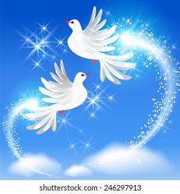 Flying two white doves in the sky and sparkling salute