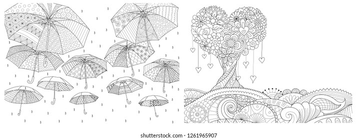 Flying umbrellas during the rain and hearted shape tree on floral ground set, for design element and coloring book,coloring page, colouring picture for anti stress. Vector illustration.