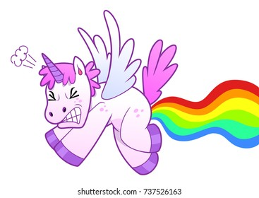 Flying unicorn makes rainbow