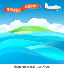 Flying vintage plane with banner and ocean, sea landscape. Vector illustration, template for text