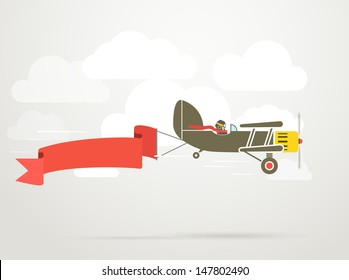Flying vintage plane with the banner. Template for a text