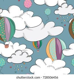 Flying violet and green balloons in the sky seamless pattern. Seamless pattern. Cute clouds with colorful drops on turquoise background